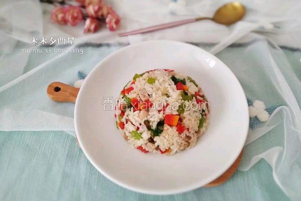 莴笋胡萝卜肉丁炒饭