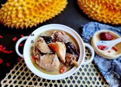 水果创意菜+超滋补的榴莲煲鸡汤