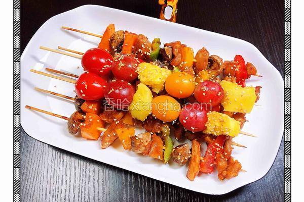 串烧鸡肉果蔬