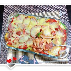 韩式鲜蔬牛肉肠焗饭
