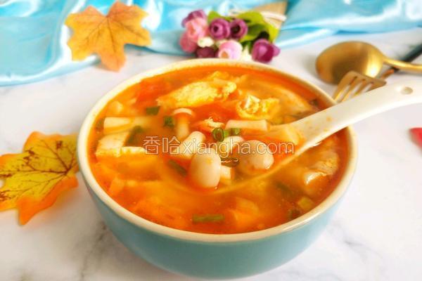 夏日轻食茄汁菌菇豆腐汤