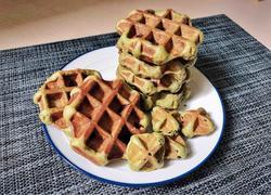 治愈系美食:抹茶巧克力豆&抹茶芋泥比利时松饼(高粉酵母版)