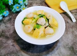 墨鱼丸小油菜豆腐菜