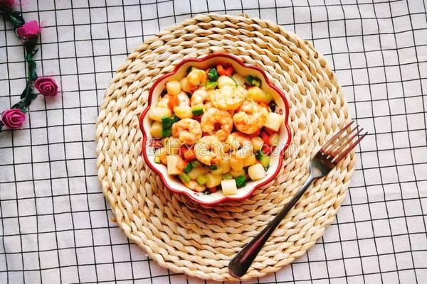 鲜蔬虾球炒年糕