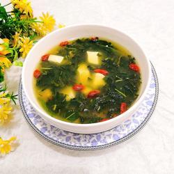 芝麻叶枸杞豆腐汤的做法[图]