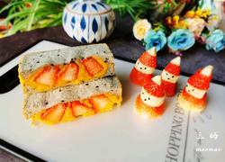 草莓三明治早餐(圣诞节应景)