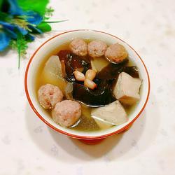 海帶豆腐白蘿卜肉丸湯的做法[圖]