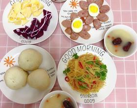 三口之家的早餐[图]