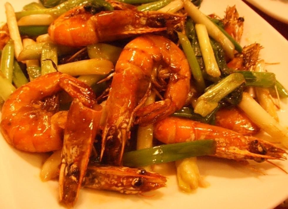 河虾炒小葱